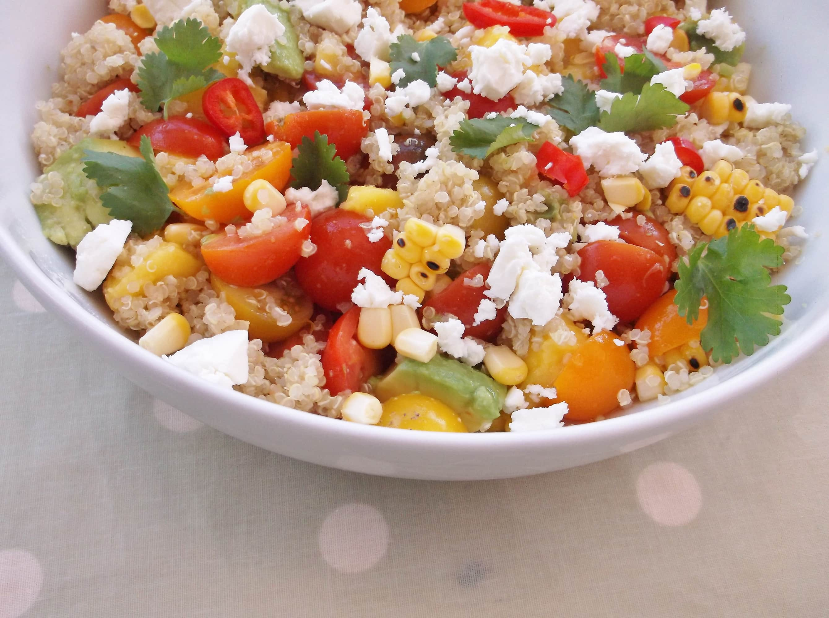 Review of jamie olivers everyday super food easy peasy foodie jamie olivers grilled corn and quinoa salad with mango tomatoes avocado and feta ccuart Gallery