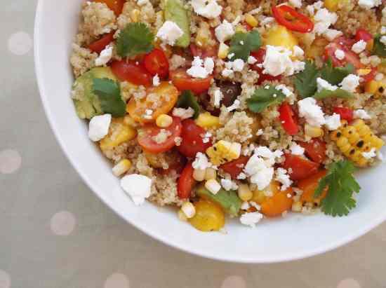 Jamie Oliver's Grilled Corn, Quinoa, Feta, Mango and Avocado Salad