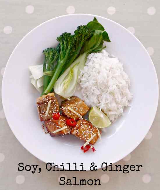 A simple, Asian style, salmon dish: the salmon is marinated in soy sauce, chilli and ginger, then served with steamed rice, pak choi and tenderstem broccoli.
