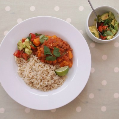 Sweet Potato Chilli with Brown Rice and Avocado Salad (Vegan)