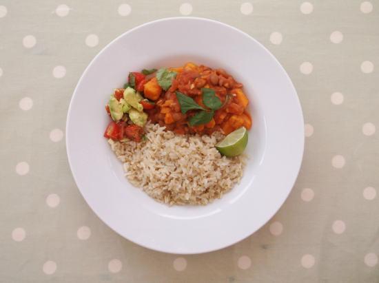 Sweet Potato Chilli with Brown Rice and Avocado Salad (Vegan)
