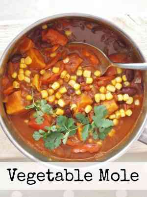 This vegan Vegetable Mole is a simplified, vegetarian version of the traditional Mexican dish, made with sweet potatoes, red peppers, kidney beans and sweetcorn. #vegan #vegetarian #Mexican #mole