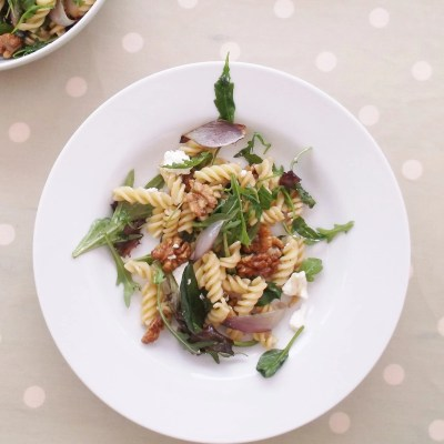 Warm Goat's Cheese, Red Onion and Walnut Pasta Salad
