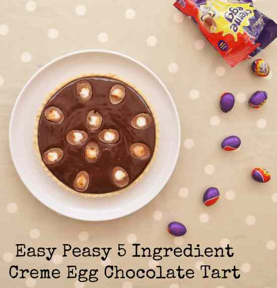 Easy Peasy 5 Ingredient Creme Egg Chocolate Tart #cremeeggs #chocolatetart #easter #eastereggs #eastertart #cremeeggtart #easter2019