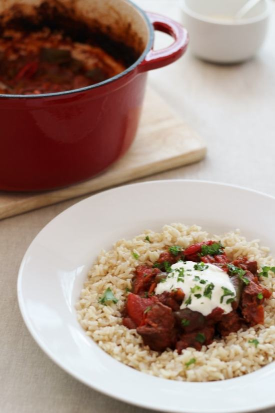 Hungarian Beef Goulash with garnishes
