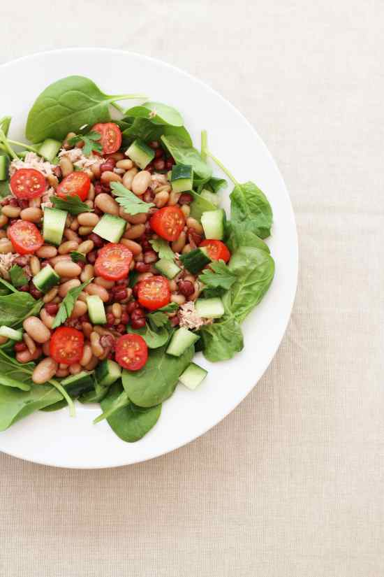 Tuna Bean Spinach Salad