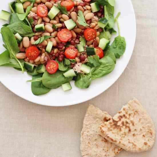 Tuna, Bean & Spinach Salad