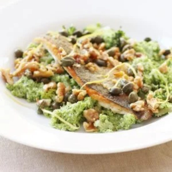 Pan-fried Sea Bass with Broccoli Mash, Walnuts and Capers