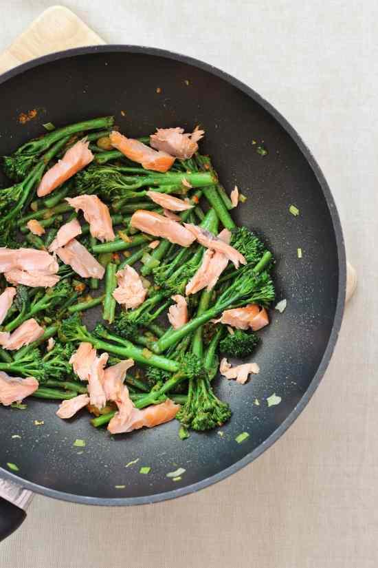 Add the hot smoked salmon