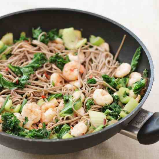 King Prawn Stir Fry with Buckwheat Noodles