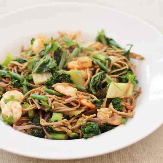 King Prawn Stir-Fry with Buckwheat Noodles