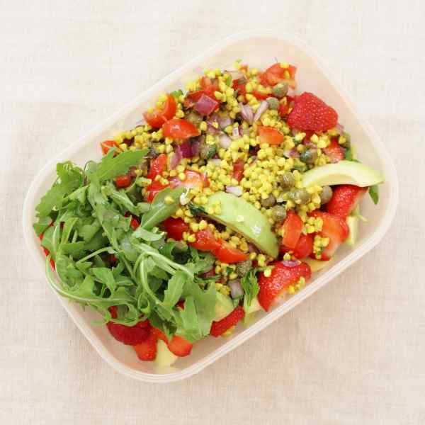 Strawberry Buckwheat Tabbouleh as a packed lunch from the Sirtfood Diet