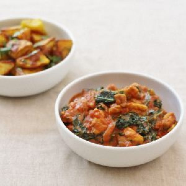 Chicken and Kale Curry with Bombay Potatoes from The Sirtfood Diet