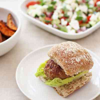 Harissa Turkey Burgers with Cumin Spiced Sweet Potato Wedges