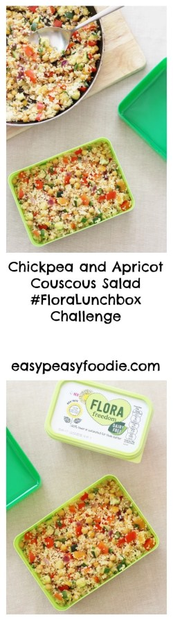 Chickpea and Apricot Couscous Salad #FloraLunchbox Challenge   easypeasyfoodie.com