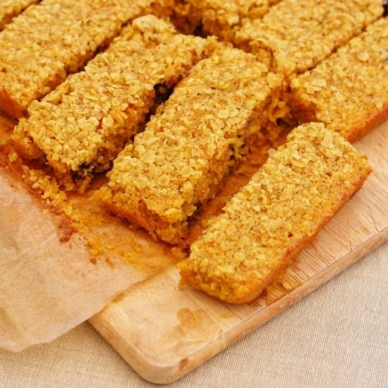 Oat, Coconut, Carrot and Chocolate Chip Cake Bars