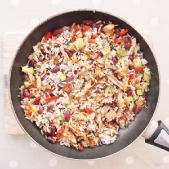 Mexican-Style Rice Salad with Leftover Turkey