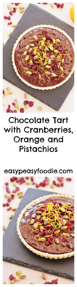 Rather decadent, but deliciously easy, this Chocolate Tart with Cranberries, Orange and Pistachios is great as an alternative to Christmas pudding or perfect for a Christmas party. And it only takes 10 minutes to make!! Yes, you read that right :-)