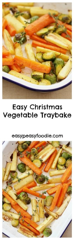 In my quest to make cooking Christmas dinner less stressful, I have created this Easy Christmas Vegetable Traybake. Roasting the parsnips, carrots and sprouts all together in one tray means you can relax and have a glass of bubbly instead of juggling pots and pans like a mad thing this Christmas.