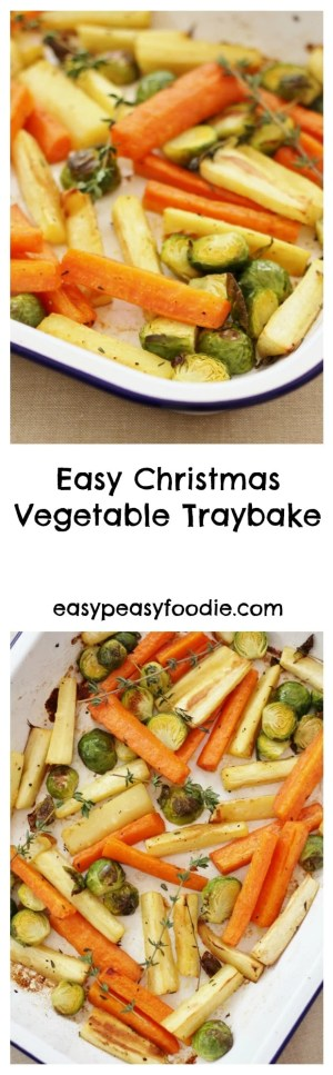 In my quest to make cooking Christmas dinner less stressful, I have created this Easy Christmas Vegetable Traybake. Roasting the parsnips, carrots and sprouts all together in one tray means you can relax and have a glass of bubbly instead of juggling pots and pans like a mad thing this Christmas. #christmas #vegetables #traybake #easychristmasvegetables #stressfreechristmas #easychristmas #easypeasychristmas #easypeasyfoodie