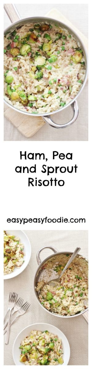 A delicious winter warmer, this simple Ham, Pea and Sprout Risotto is a great way to use up any leftover ham or sprouts after Christmas and a brilliant easy peasy midweek meal to see you through the rest of winter too. #ham #peas #sprouts #risotto #leftovers