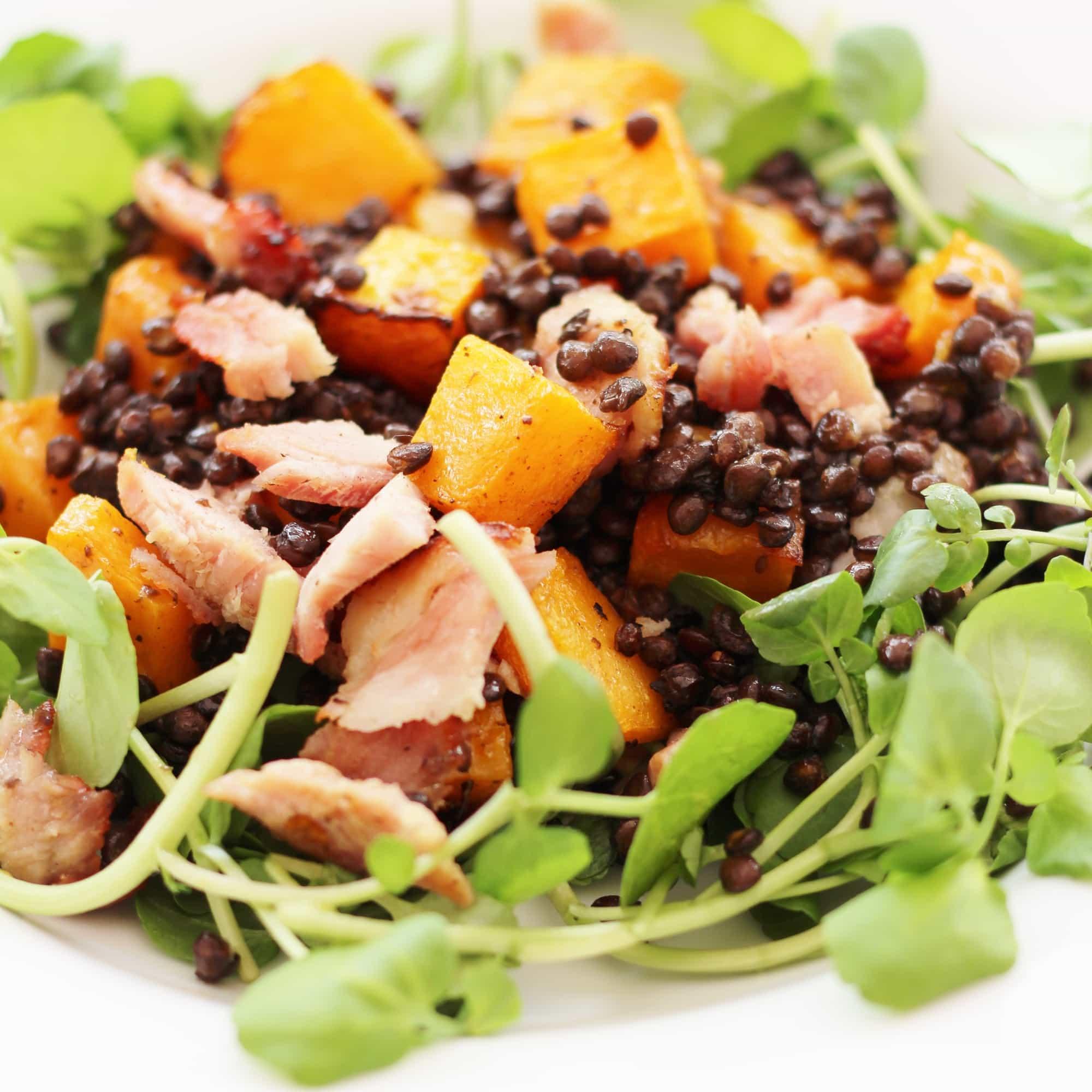 Turkey Ham Leftover Recipes Leftover Ham Squash And Puy Lentil Salad Easy Peasy Foodie