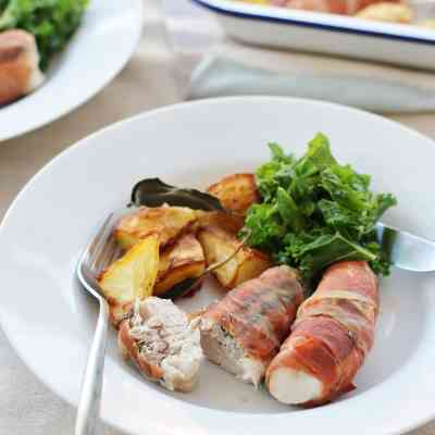 Prosciutto Wrapped Turkey Mini Fillets with Sage and Sausage Stuffing
