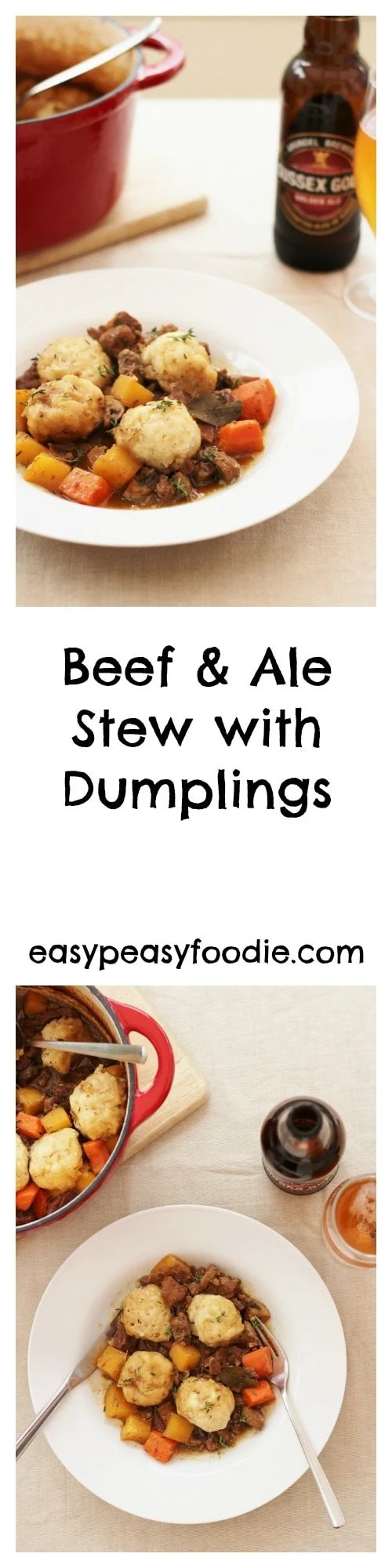 Perfect for chilly winter nights, this easy peasy Beef and Ale stew with Dumplings is a total comfort food classic – the edible equivalent of a great big hug! #stew #beefstew #stewanddumplings #dumplings #britishfoodclassics #beefandalestew #britishale #comfortfood #winterfood #easypeasyfoodie #cookblogshare #freefromgang