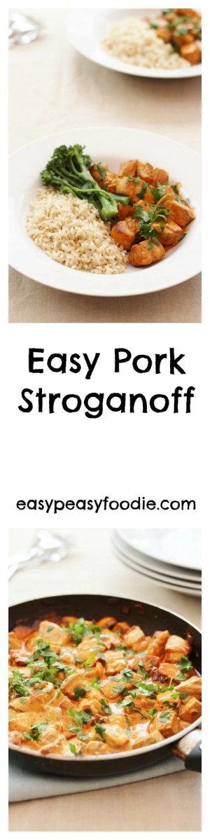 This delicious Easy Pork Stroganoff is bursting with flavour, but is simple to make and only takes 20 minutes, meaning it is perfect for a busy weeknight. Serve with brown rice and green veg for a slightly healthier twist on a classic. #pork #stroganoff #porkstroganoff #healthystroganoff #healthy #brownrice #broccoli #20minuterecipe #20minutemeal #midweekmeals #easydinners #familydinners #easypeasyfoodie