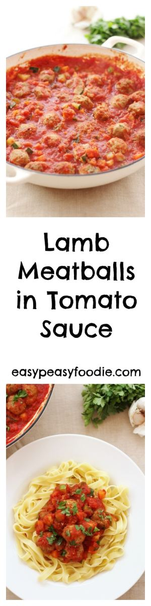 Simple, delicious and very family friendly, these Lamb Meatballs in Tomato Sauce are perfect for a busy weeknight. #lamb #lovelamb #lambmeatballs #tomatosauce #pasta #taglietelle #noodles #kidfriendly #kidfood #comfortfood #winterfood #midweekmeals #familydinner #easypeasyfoodie #cookblogshare #freefromgang