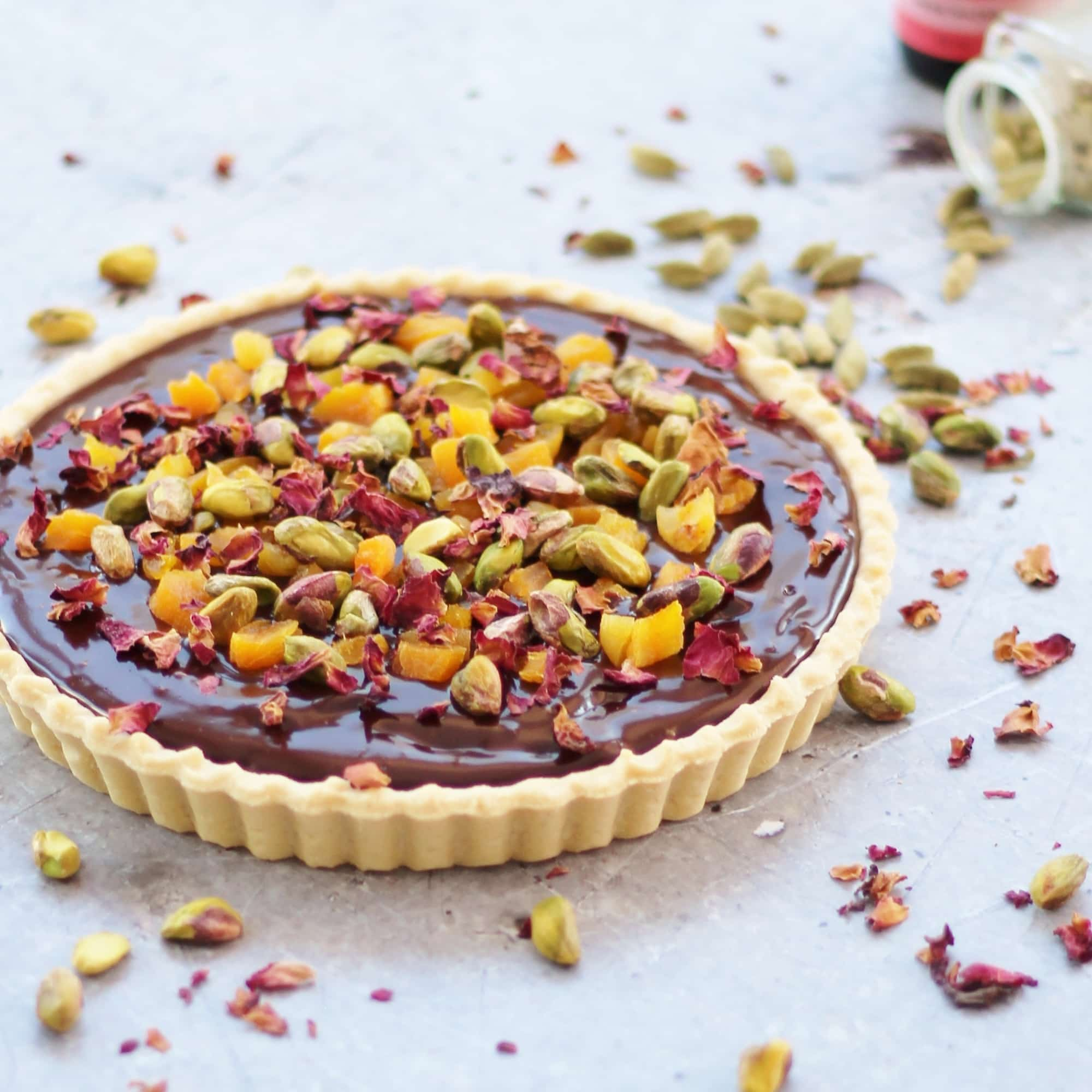 Chocolate Tart with Cardamom, Apricots and Rose Petals - Easy ...