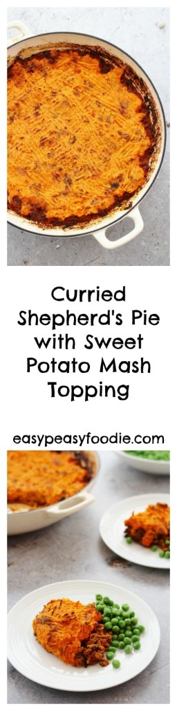 A delicious twist on a family classic, this Curried Shepherd's Pie with a Sweet Potato Mash Topping is going to be your new favourite midweek meal! Subtly flavoured with Indian spices and topped with nutritious sweet potato, this recipe takes shepherd's pie to a whole new level – plus this version can be ready in under 40 minutes, making it a brilliant choice for busy weeknights. #shepherdspie #lamb #lambshepherdspie #curriedshepherdspie #sweetpotatoes #sweetpotatomash #easydinners #healthydinners #familydinners #midweekmeals #easypeasyfoodie