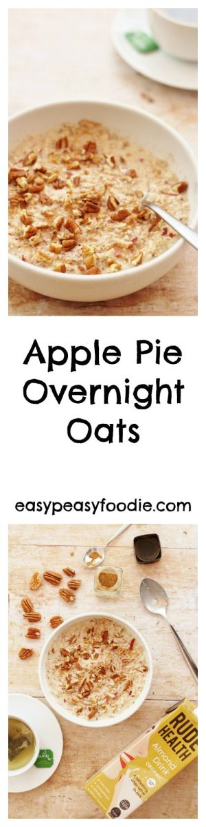 All the delicious flavours of an apple pie in a healthy, nutritious breakfast, these Apple Pie Overnight Oats are super easy to make and only takes 5 minutes - perfect for a busy morning! #oats #overnightoats #applepie #breakfast #brunch #healthybreakfast #easybreakfast #breakfastonthego #apples #pecannuts #chiaseeds #almondmilk #easypeasyfoodie