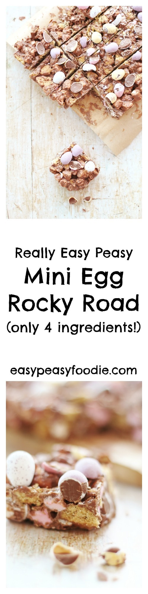 Need a super simple, 4 ingredient, no bake Easter treat that's perfect for making with kids and takes less than 10 minutes to make? Then you have to try my easy peasy Mini Egg Rocky Road! #minieggs #rockyroad #minieggrockyroad #easter #easter2018 #marshmallows #under10minutes #4ingredients #kidfriendly #eastertreats #nobake #easypeasyfoodie