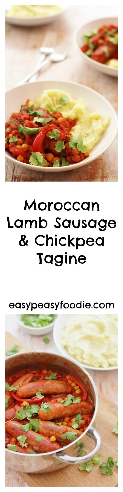 A quick and easy stew full of North African flavours, this delicious Moroccan Lamb Sausage and Chickpea Tagine is made with lamb sausages, cutting down the cooking time dramatically and making this a great way to enjoy a tagine on a busy weeknight. #moroccan #lamb #lambsausage #sausages #tagine #chickpeas #easydinners #quickdinners #familydinners #easypeasyfoodie