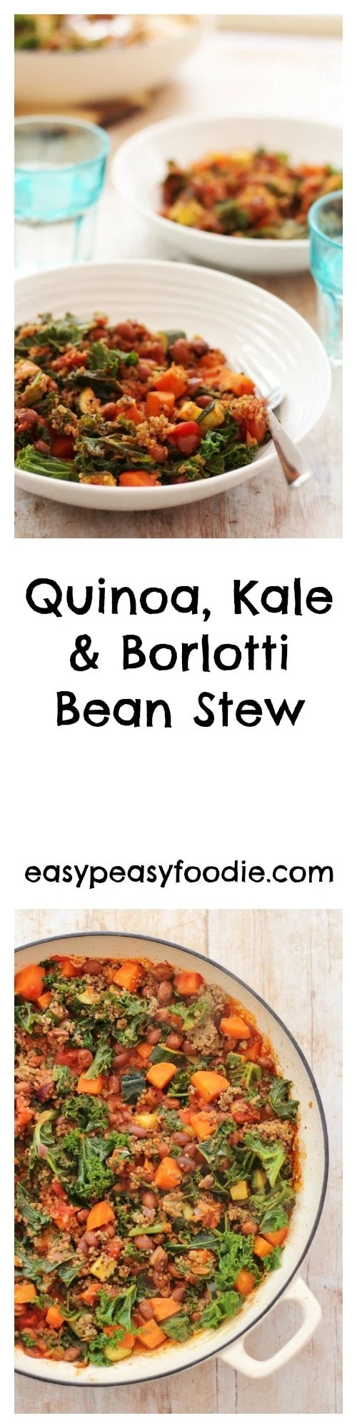 This quick and easy one pot Quinoa, Kale and Borlotti Bean Stew ticks so many boxes – it's gluten free, dairy free, vegan, full of goodness, comforting and above all totally delicious – AND it includes kale and quinoa – what more could you want? #quinoa #kale #borlottibeans #glutenfree #dairyfree #vegan #vegetarian #stew #15minutemeals #easydinners #easypeasyfoodie