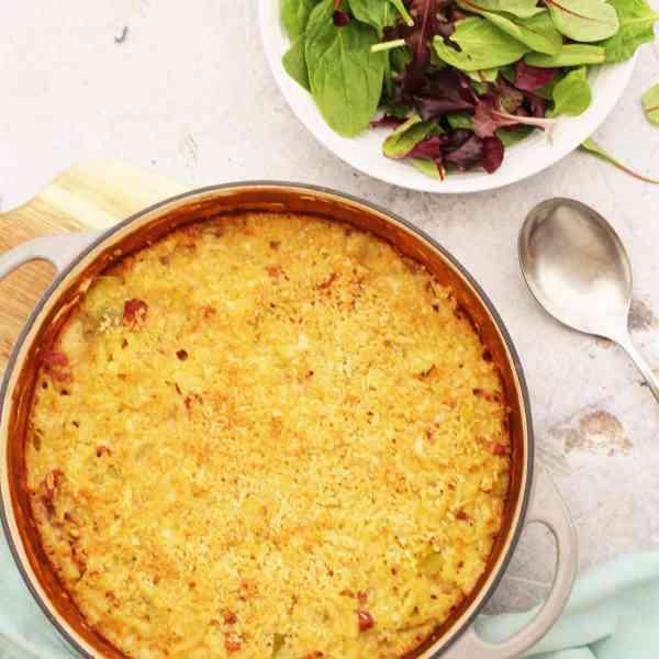 Macaroni Cheese with Bacon and Leeks