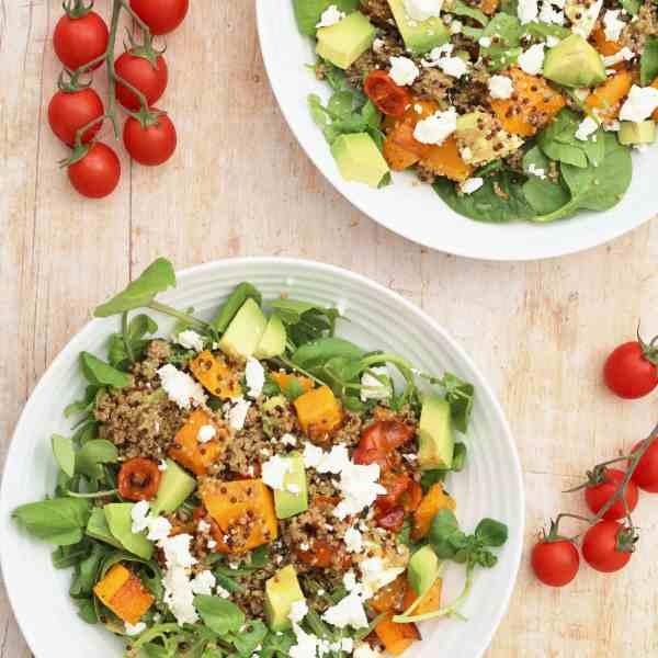 Roasted Squash, Quinoa, Avocado and Feta Salad