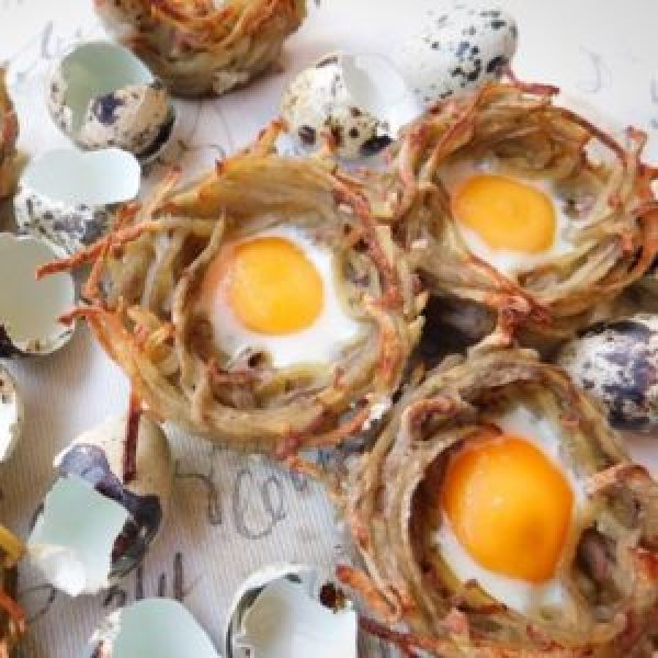 Potato Rosti and Quail Egg Easter Nests