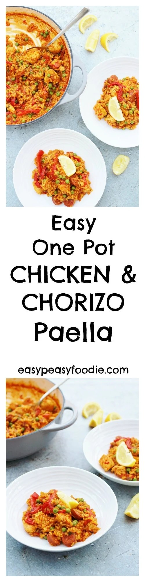 This easy one pot Chicken and Chorizo Paella is perfect for busy evenings when you have very little time to cook but still want a great tasting meal! #chicken #chorizo #paella #spanishfood #chickenpaella #chorizopaella #noseafoodpaella #onepot #easymeals #easydinners #midweekmeals #familydinners #easyentertaining #easypeasyfoodie