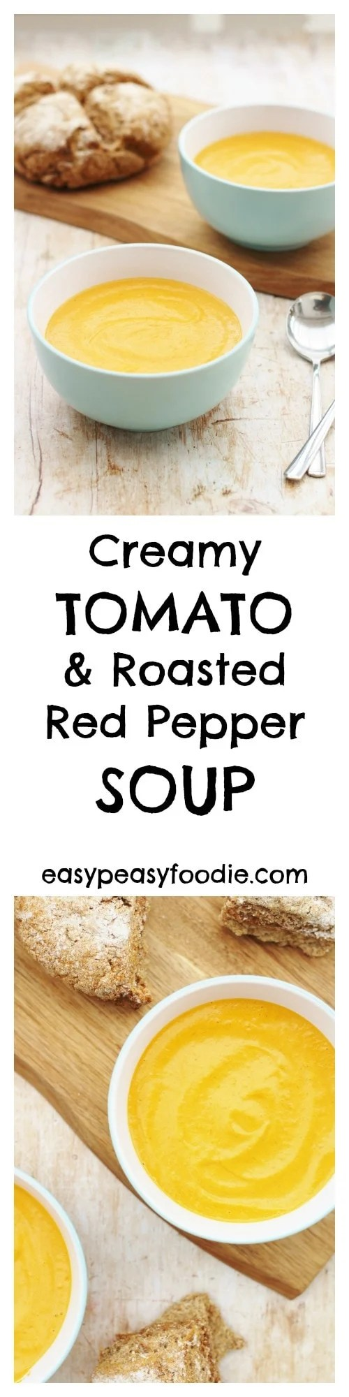 Deliciously creamy and rich this gorgeous Tomato and Roasted Red Pepper Soup is easy to prepare and full of flavour. And FINALLY I have found a way to make tomato soup without having to remove the skins! #soup #tomatosoup #roastedpeppers #vegetarian #Froothie #blender #winterfood #winterwarmer #comfortfood #easyrecipes #easydinners #midweekmeals #lunch #familydinners #easypeasyfoodie
