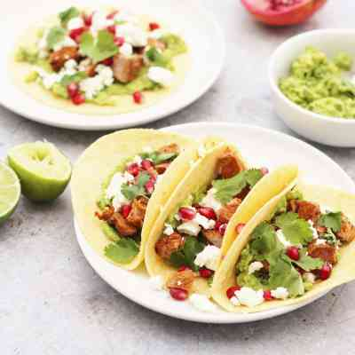 Lamb Tacos with Avocado, Feta and Pomegranate