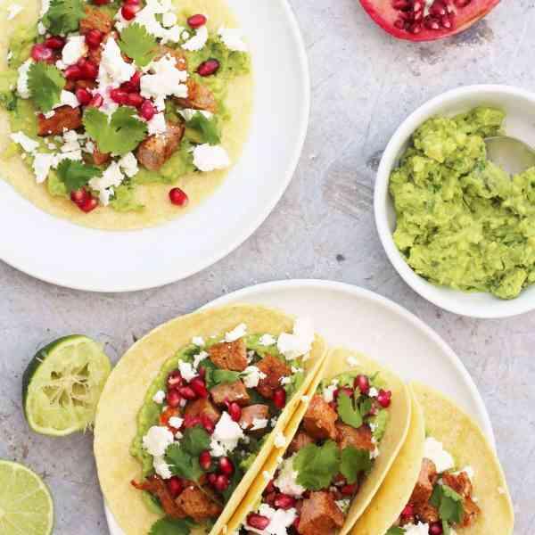 Lamb Tacos with Avocado, Feta and Pomegranate