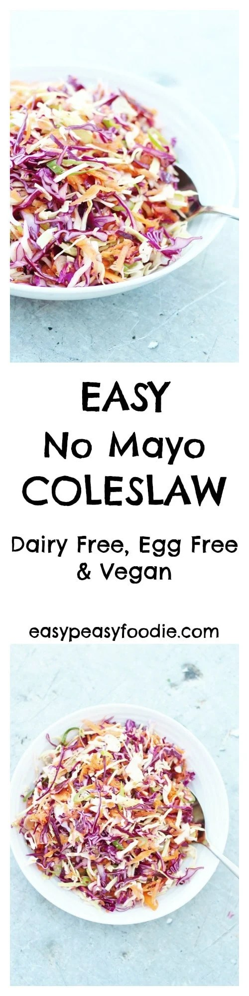 A lighter, fresher coleslaw…that tastes much better than the kind that's dripping with cream and mayonnaise AND is easy peasy to make, my Easy No Mayo Coleslaw is perfect for picnics, BBQs and potlucks…and even amazing on top of a baked potato! Plus this version is dairy free and egg free and vegan, so can be enjoyed by almost everyone :-D #DairyFree #EggFree #Vegan #NoMayo #Coleslaw
