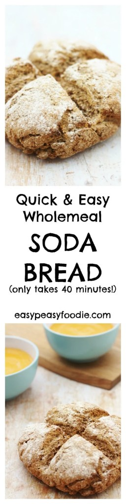 Delicious, crusty wholemeal bread in under 40 minutes? Yes it is possible! My Easy Wholemeal Soda Bread is amazing warm from the oven and perfect with soups and salads, or for taking on a picnic. #bread #sodabread #wholemealbread #easybread #quickbread