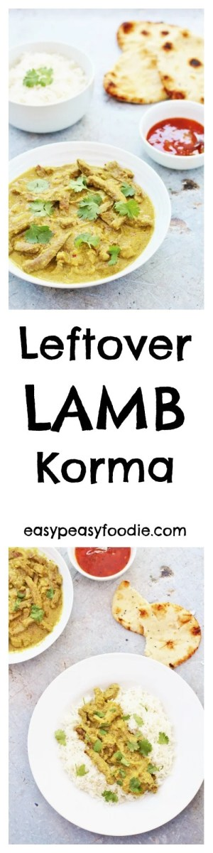 Had a delicious joint of roast lamb and wondering what to do with the leftovers? How about a quick and easy curry? This Leftover Lamb Korma takes just 25 minutes – perfect for a quick and easy midweek meal. (And if you don't have any leftover roast lamb, read on – I have tips on how to 'create' some leftovers!!)