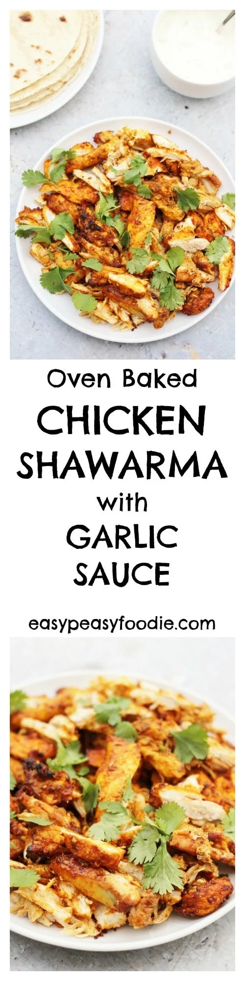 Have you tried chicken shawarma yet? If not then you have been missing a treat – the chicken is simply coated in a deliciously easy marinade, full of gorgeous Middle Eastern spices, and then roasted in the oven for 30 minutes – so simple, but unbelievably good! #chicken #shawarma #ovenbaked #middleeastern #garlicsauce #yogurtsauce #greekyogurt #healthydinners #easydinners #midweekmeals #easyentertaining #familydinners #mezze #makeahead #easypeasyfoodie