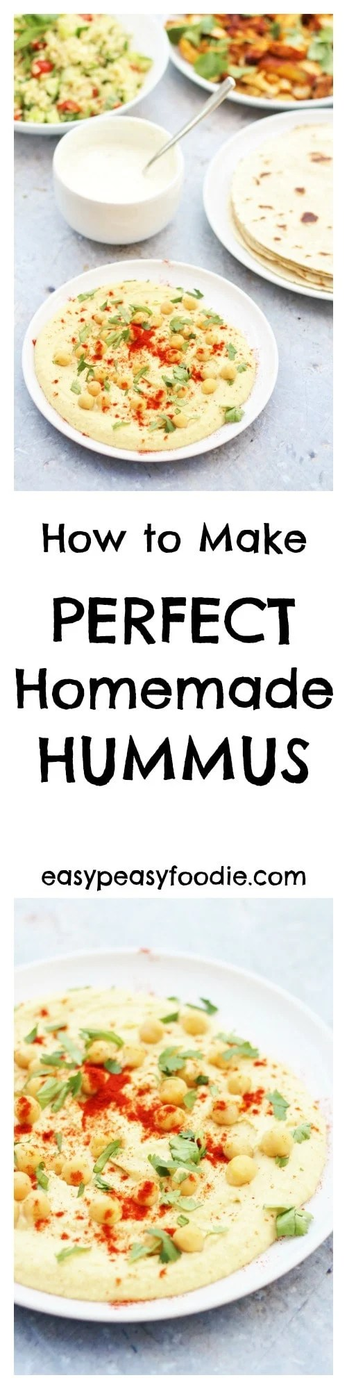 For the longest time, a Perfect Homemade Hummus recipe has eluded me…try as I might, I just haven't been able to get the recipe tasting just right, and it has never been quite smooth enough – but not any longer. I have finally created the recipe for perfect homemade hummus – and it's waaay better than the hummus you get in the shops! #hummus #houmous #chickpeas #tahini #dip #froothie #blender #vegetarian #vegan #easyrecipes #easypeasyfoodie