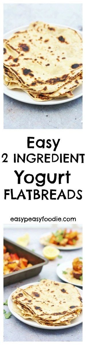 Unbelievably easy, these 2 Ingredient Yogurt Flatbreads are the perfect side dish for tagines, pilafs and other Middle Eastern inspired dishes. #flatbreads #bread #yogurt #yoghurt