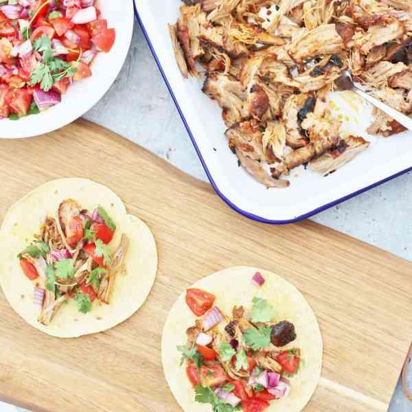 Mexican Pulled Pork Tacos with Easy Peasy Salsa Fresca (Pico de Gallo)